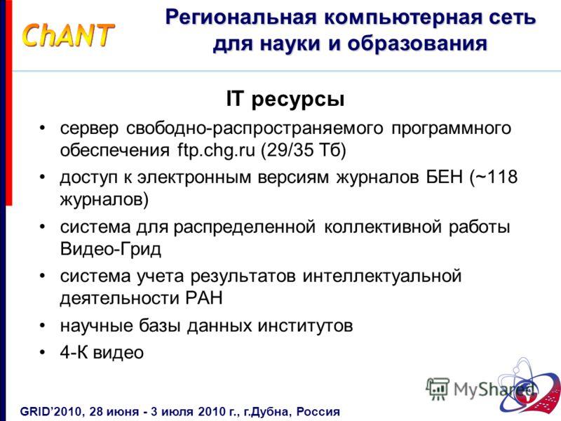 IT ресурсы сервер свободно-распространяемого программного обеспечения ftp.chg.ru (29/35 Тб) доступ к электронным версиям журналов БЕН (~118 журналов) система для распределенной коллективной работы Видео-Грид система учета результатов интеллектуальной