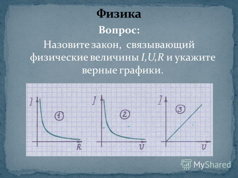Вопрос: Назовите закон, связывающий физические величины I,U,R и укажите верные графики.