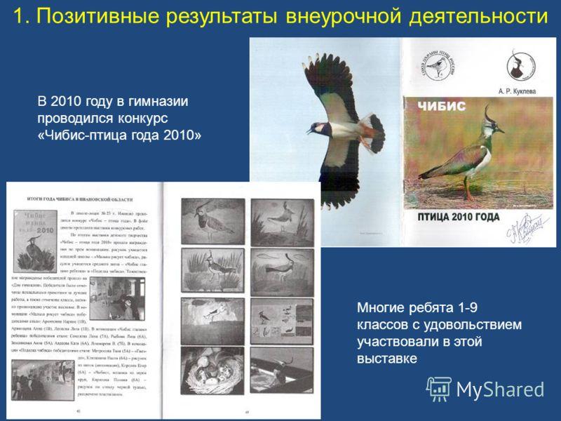 1. Позитивные результаты внеурочной деятельности В 2010 году в гимназии проводился конкурс «Чибис-птица года 2010» Многие ребята 1-9 классов с удовольствием участвовали в этой выставке
