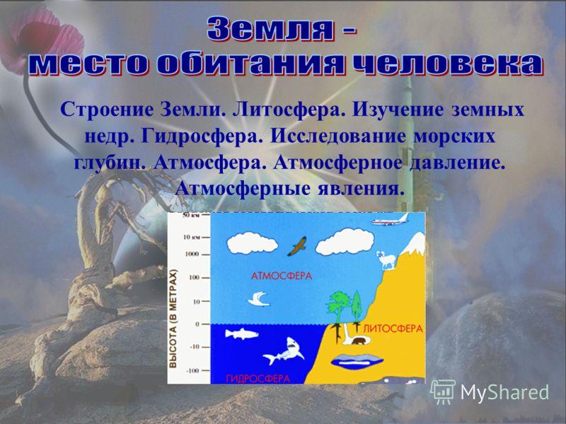 Строение Земли. Литосфера. Изучение земных недр. Гидросфера. Исследование морских глубин. Атмосфера. Атмосферное давление. Атмосферные явления.