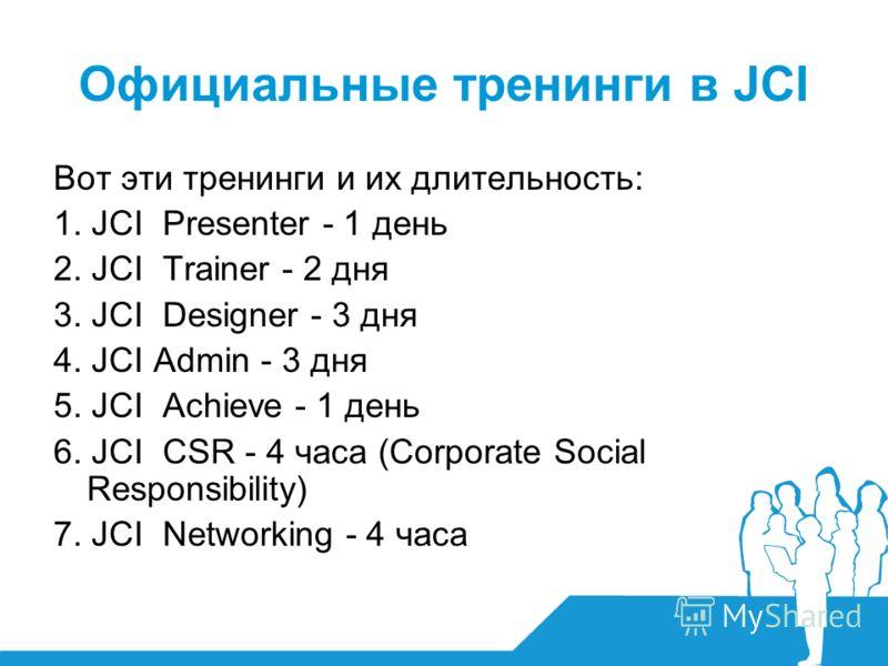 Официальные тренинги в JCI Вот эти тренинги и их длительность: 1. JCI Presenter - 1 день 2. JCI Trainer - 2 дня 3. JCI Designer - 3 дня 4. JCI Admin - 3 дня 5. JCI Achieve - 1 день 6. JCI CSR - 4 часа (Corporate Social Responsibility) 7. JCI Networki