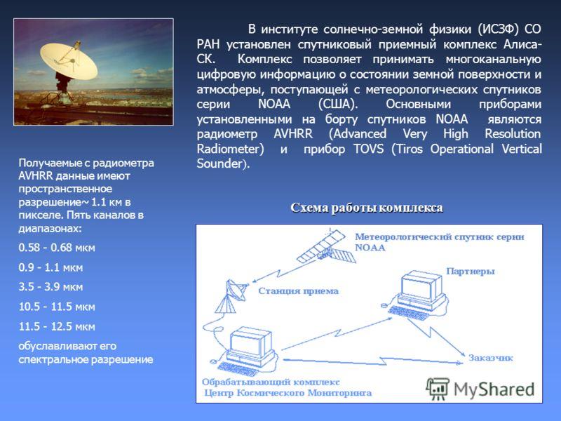 В институте солнечно-земной физики (ИСЗФ) СО РАН установлен спутниковый приемный комплекс Алиса- СК. Комплекс позволяет принимать многоканальную цифровую информацию о состоянии земной поверхности и атмосферы, поступающей с метеорологических спутников