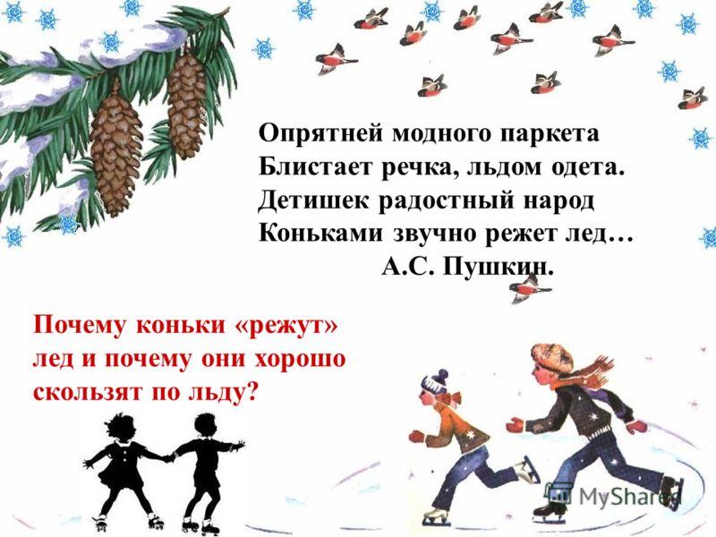 Опрятней модного паркета Блистает речка, льдом одета. Детишек радостный народ Коньками звучно режет лед… А.С. Пушкин. Почему коньки «режут» лед и почему они хорошо скользят по льду?