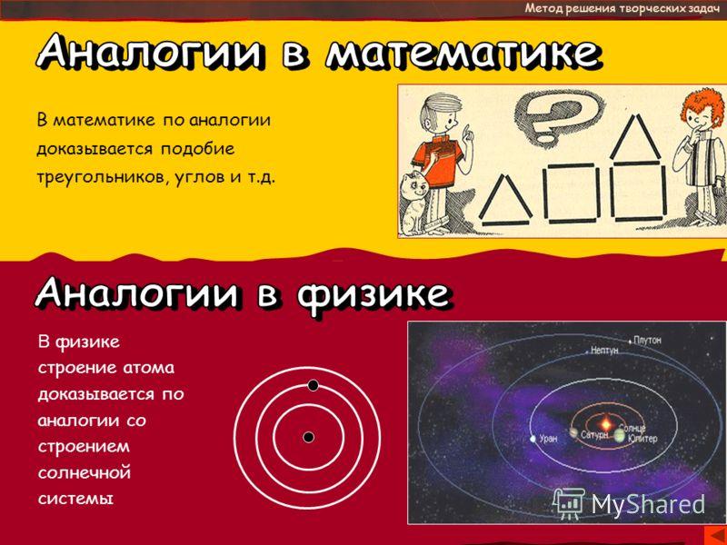 - это Метод решения творческих задач В математике по аналогии доказывается подобие треугольников, углов и т.д. В физике строение атома доказывается по аналогии со строением солнечной системы