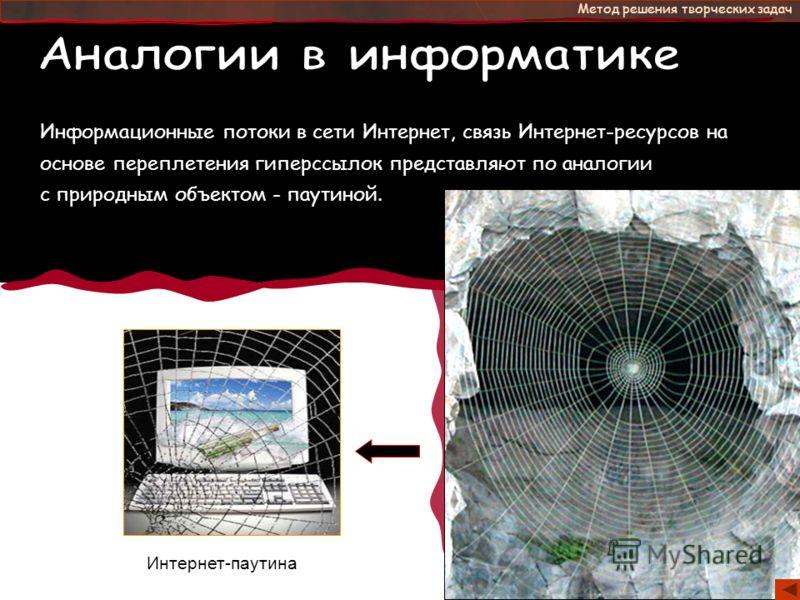 - это Метод решения творческих задач Информационные потоки в сети Интернет, связь Интернет-ресурсов на основе переплетения гиперссылок представляют по аналогии с природным объектом - паутиной. Интернет-паутина
