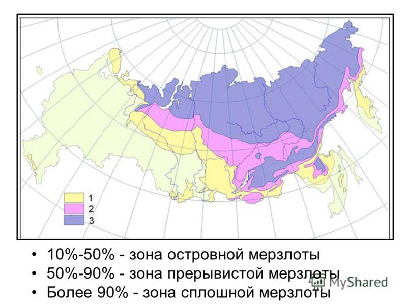 10%-50% - зона островной мерзлоты 50%-90% - зона прерывистой мерзлоты Более 90% - зона сплошной мерзлоты