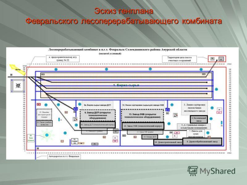 Эскиз генплана Февральского лесоперерабатывающего комбината