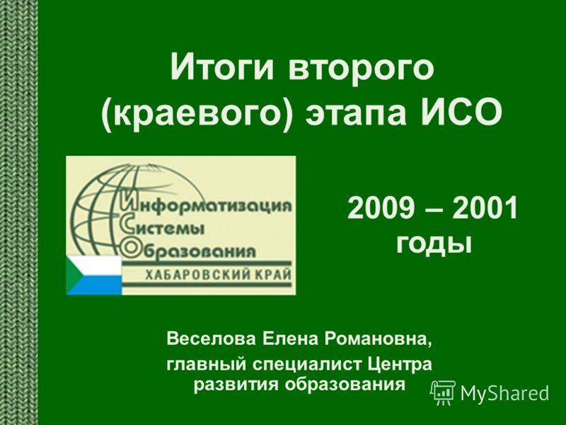 Итоги второго (краевого) этапа ИСО Веселова Елена Романовна, главный специалист Центра развития образования 2009 – 2001 годы