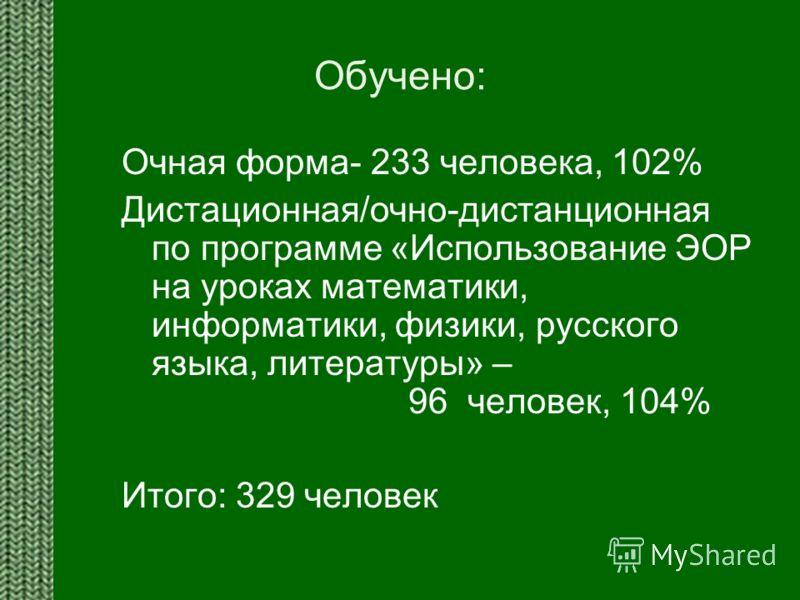 Обучено: Очная форма- 233 человека, 102% Дистационная/очно-дистанционная по программе «Использование ЭОР на уроках математики, информатики, физики, русского языка, литературы» – 96 человек, 104% Итого: 329 человек