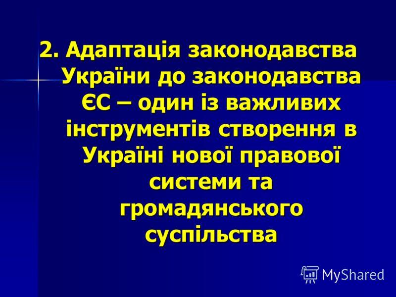 2. Адаптація законодавства України до законодавства ЄС – один із важливих інструментів створення в Україні нової правової системи та громадянського суспільства