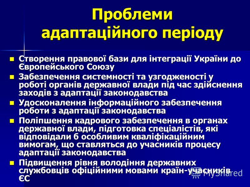 Проблеми адаптаційного періоду Створення правової бази для інтеграції України до Європейського Союзу Створення правової бази для інтеграції України до Європейського Союзу Забезпечення системності та узгодженості у роботі органів державної влади під ч
