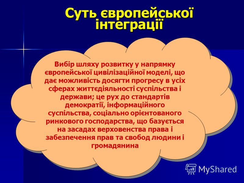 Суть європейської інтеграції Вибір шляху розвитку у напрямку європейської цивілізаційної моделі, що дає можливість досягти прогресу в усіх сферах життєдіяльності суспільства і держави; це рух до стандартів демократії, інформаційного суспільства, соці