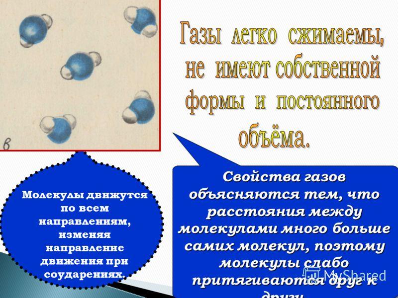 Свойства газов объясняются тем, что расстояния между молекулами много больше самих молекул, поэтому молекулы слабо притягиваются друг к другу. Молекулы движутся по всем направлениям, изменяя направление движения при соударениях.