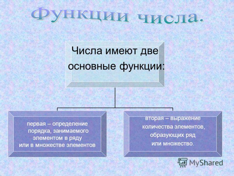 Числа имеют две основные функции: первая – определение порядка, занимаемого элементом в ряду или в множестве элементов вторая – выражение количества элементов, образующих ряд или множество.