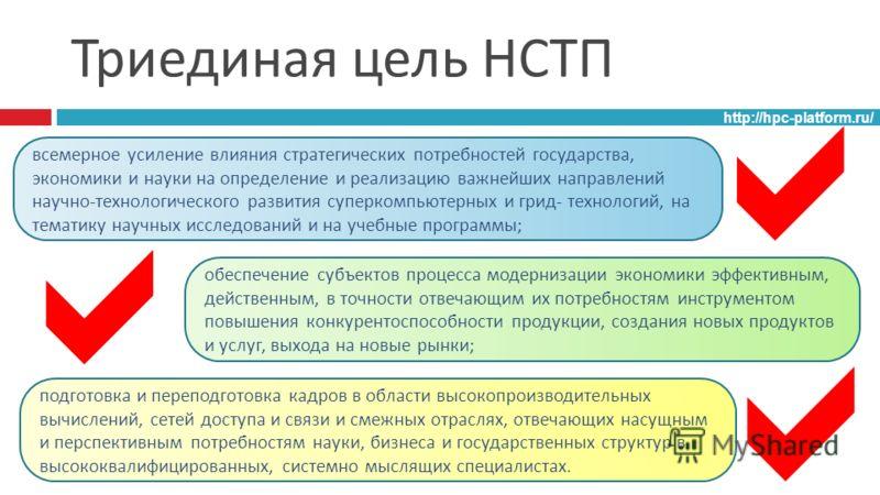 Триединая цель НСТП http://hpc-platform.ru/ всемерное усиление влияния стратегических потребностей государства, экономики и науки на определение и реализацию важнейших направлений научно - технологического развития суперкомпьютерных и грид - технолог