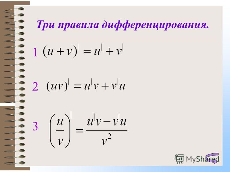 Три правила дифференцирования. 1 2 3