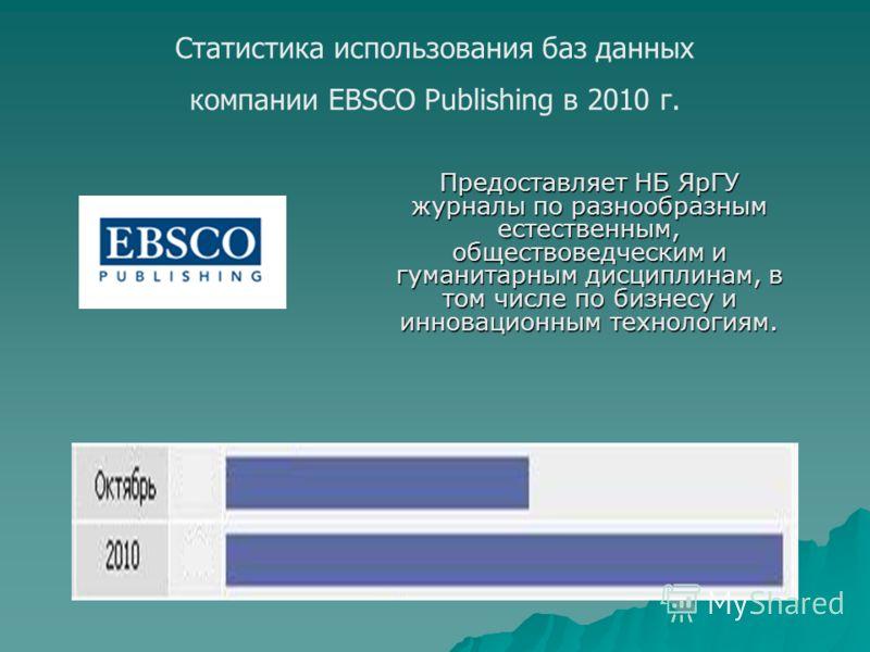 Предоставляет НБ ЯрГУ журналы по разнообразным естественным, обществоведческим и гуманитарным дисциплинам, в том числе по бизнесу и инновационным технологиям. Статистика использования баз данных компании EBSCO Publishing в 2010 г.