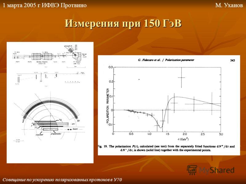 Измерения при 150 ГэВ Совещание по ускорению поляризованных протонов в У70 1 марта 2005 г ИФВЭ ПротвиноМ. Уханов