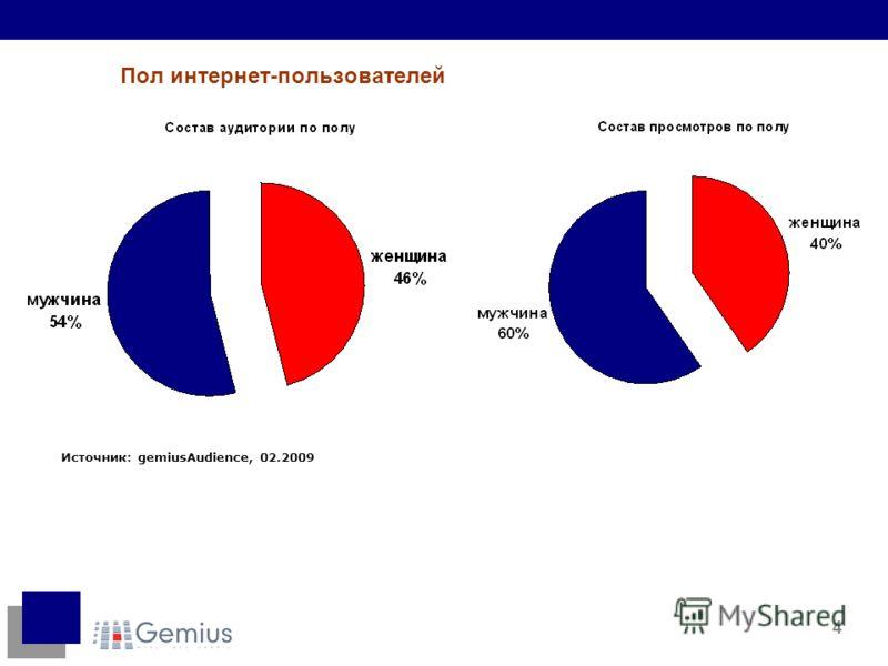 4 Пол интернет-пользователей Источник: gemiusAudience, 02.2009