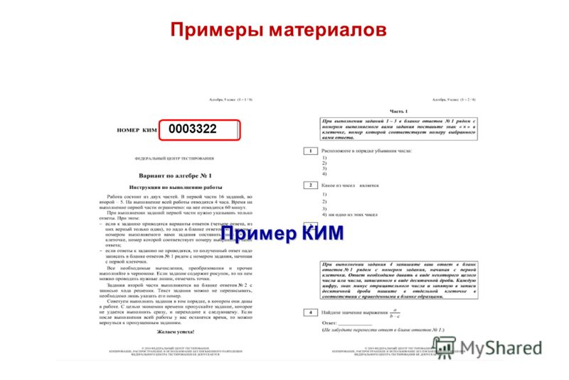 Примеры материалов Пример КИМ 0003322