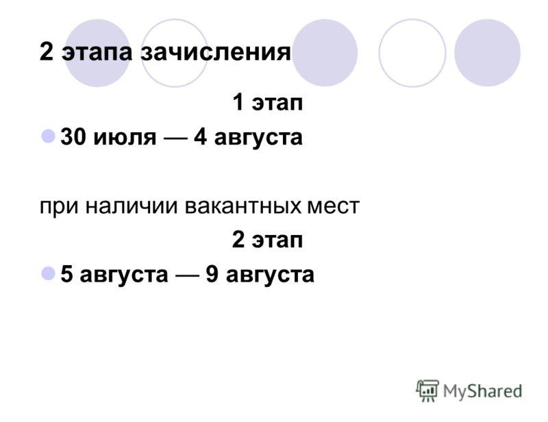 2 этапа зачисления 1 этап 30 июля 4 августа при наличии вакантных мест 2 этап 5 августа 9 августа