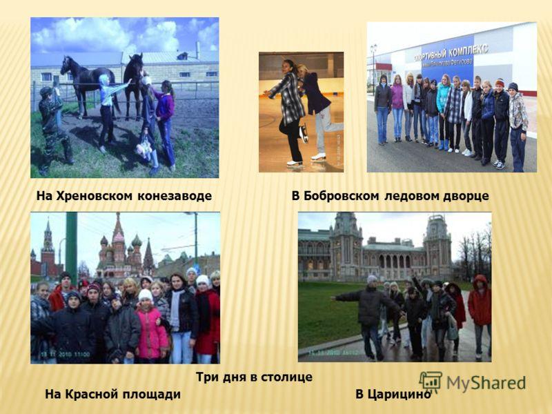 На Хреновском конезаводеВ Бобровском ледовом дворце Три дня в столице На Красной площадиВ Царицино