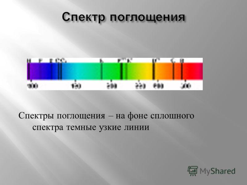 Светящиеся газы ( разреженные ) в атомарном состоянии создают линейчатые спектры испускания, состоящие из отдельных узких спектральных линий. Спектральные линии имеют определенную интенсивность и отделены друг от друга темными промежутками. Изолирова