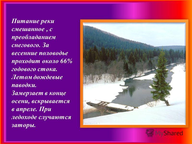 Питание реки смешанное, с преобладанием снегового. За весенние половодье проходит около 66% годового стока. Летом дождевые паводки. Замерзает в конце осени, вскрывается в апреле. При ледоходе случаются заторы.