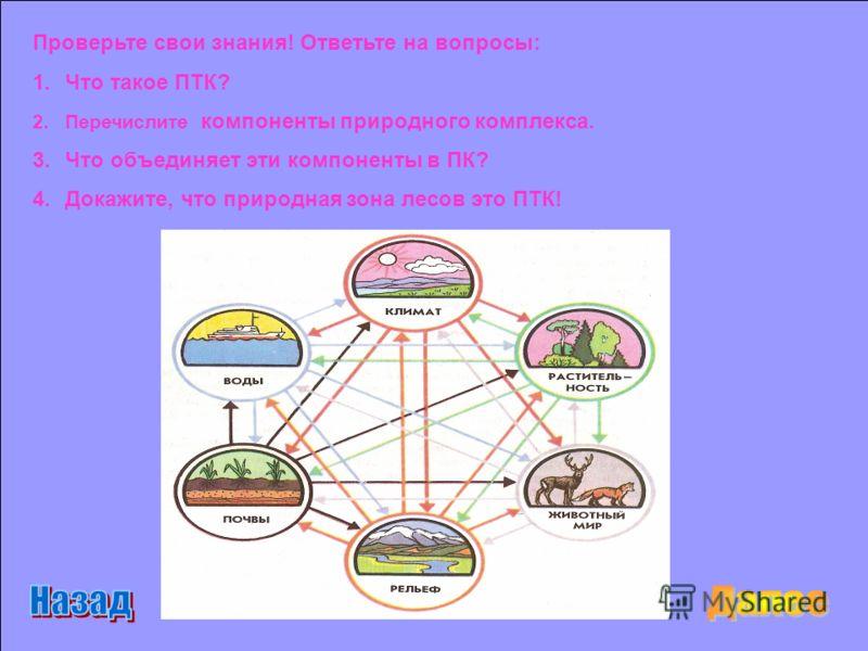 Проверьте свои знания! Ответьте на вопросы: 1.Что такое ПТК? 2.Перечислите компоненты природного комплекса. 3.Что объединяет эти компоненты в ПК? 4.Докажите, что природная зона лесов это ПТК!