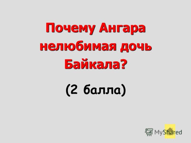 Почему Ангара нелюбимая дочь Байкала? (2 балла)