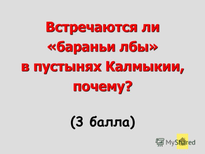 Встречаются ли «бараньи лбы» в пустынях Калмыкии, почему? (3 балла)