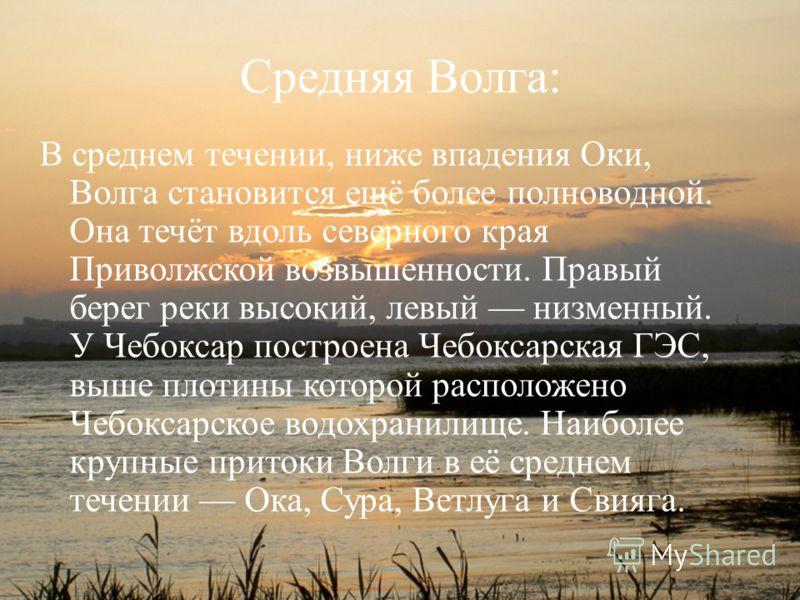 Средняя Волга: В среднем течении, ниже впадения Оки, Волга становится ещё более полноводной. Она течёт вдоль северного края Приволжской возвышенности. Правый берег реки высокий, левый низменный. У Чебоксар построена Чебоксарская ГЭС, выше плотины кот