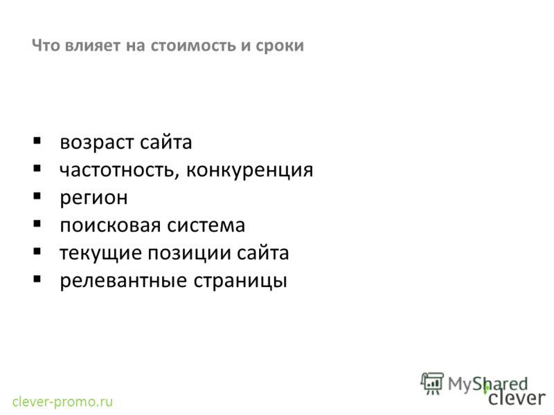 clever-promo.ru Что влияет на стоимость и сроки возраст сайта частотность, конкуренция регион поисковая система текущие позиции сайта релевантные страницы