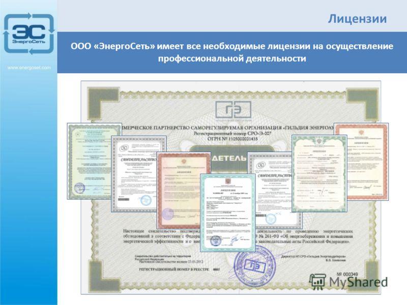 Лицензии ООО «ЭнергоСеть» имеет все необходимые лицензии на осуществление профессиональной деятельности