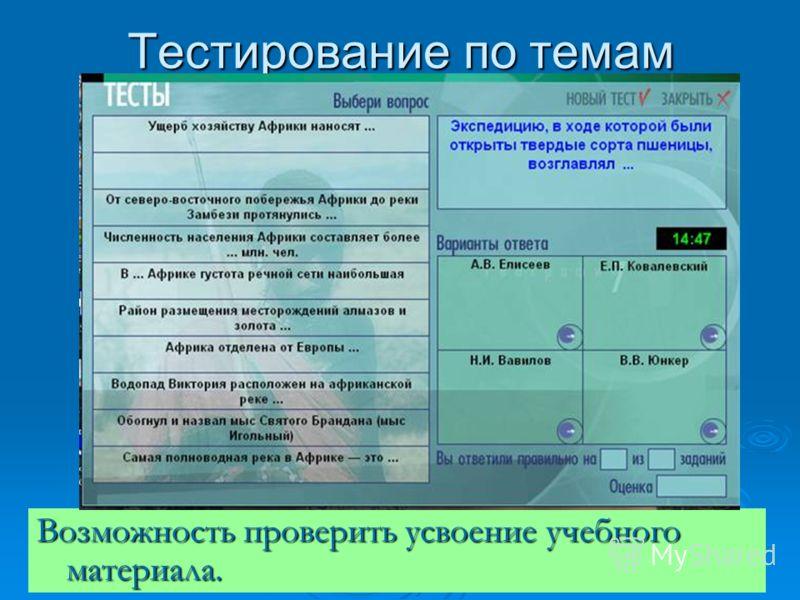 Тестирование по темам Возможность проверить усвоение учебного материала.