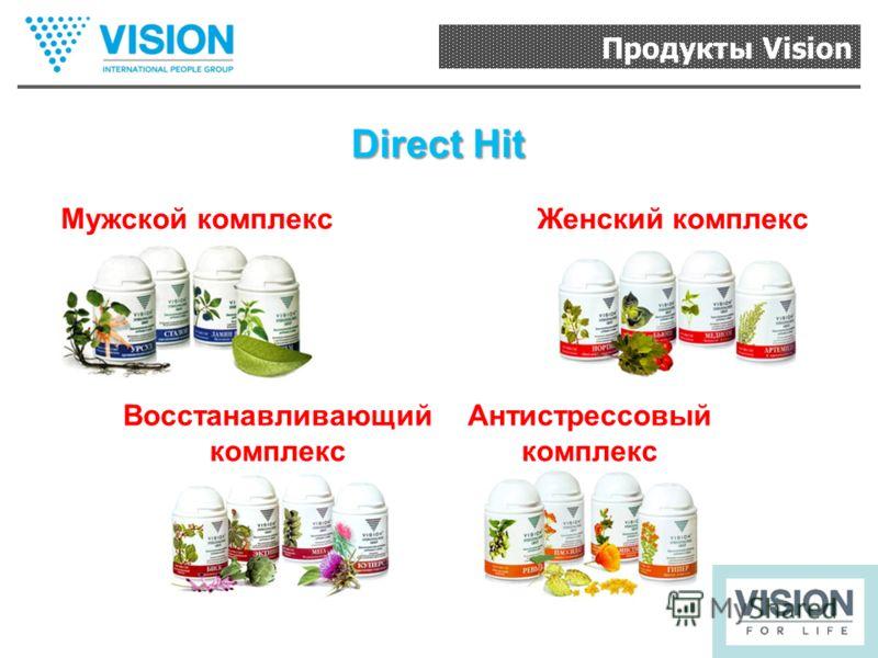 Продукты Vision Direct Hit Мужской комплексЖенский комплекс Восстанавливающий комплекс Антистрессовый комплекс