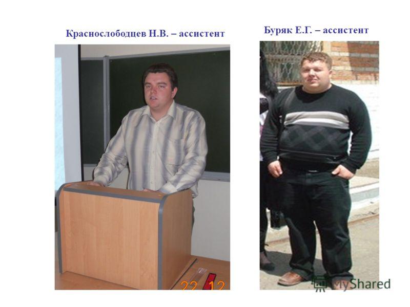 Краснослободцев Н.В. – ассистент Буряк Е.Г. – ассистент