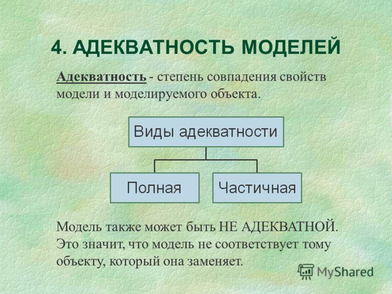 4. АДЕКВАТНОСТЬ МОДЕЛЕЙ Адекватность - степень совпадения свойств модели и моделируемого объекта. Модель также может быть НЕ АДЕКВАТНОЙ. Это значит, что модель не соответствует тому объекту, который она заменяет.