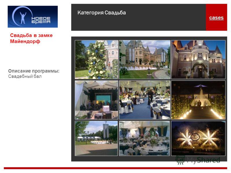 Категория Свадьба cases Описание программы: Свадебный бал Свадьба в замке Майендорф