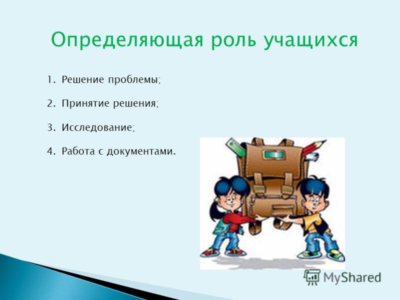 Определяющая роль учащихся 1.Решение проблемы; 2.Принятие решения; 3.Исследование; 4.Работа с документами.