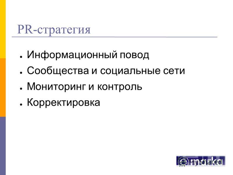 PR-стратегия Информационный повод Сообщества и социальные сети Мониторинг и контроль Корректировка