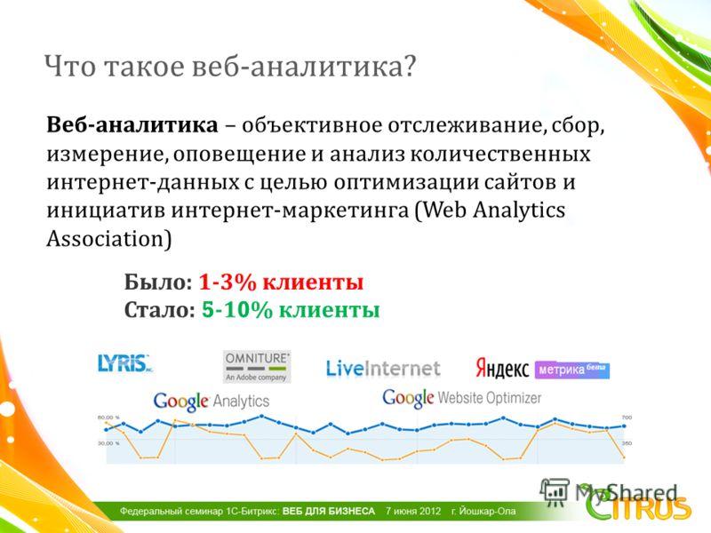 Что такое веб - аналитика ? Было : 1-3% клиенты Стало : 5-10% клиенты Веб - аналитика – объективное отслеживание, сбор, измерение, оповещение и анализ количественных интернет - данных с целью оптимизации сайтов и инициатив интернет - маркетинга (Web