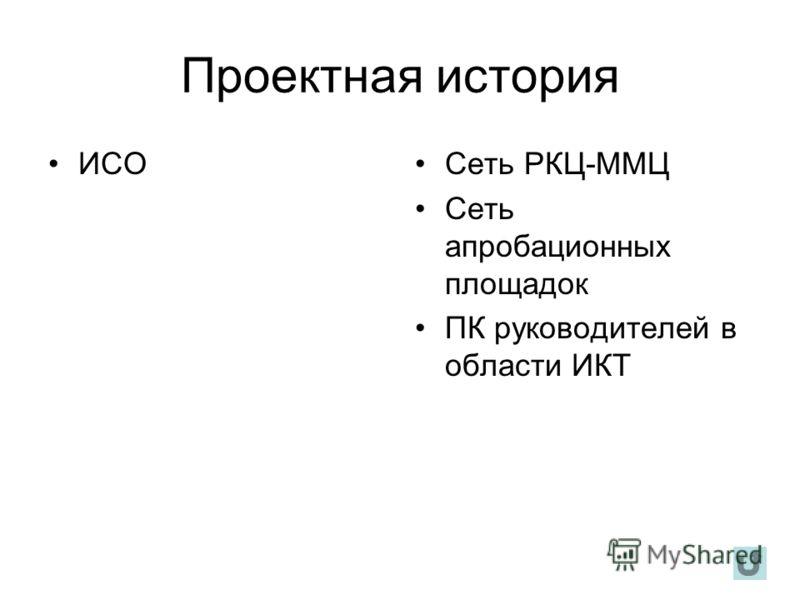 Проектная история ИСОСеть РКЦ-ММЦ Сеть апробационных площадок ПК руководителей в области ИКТ