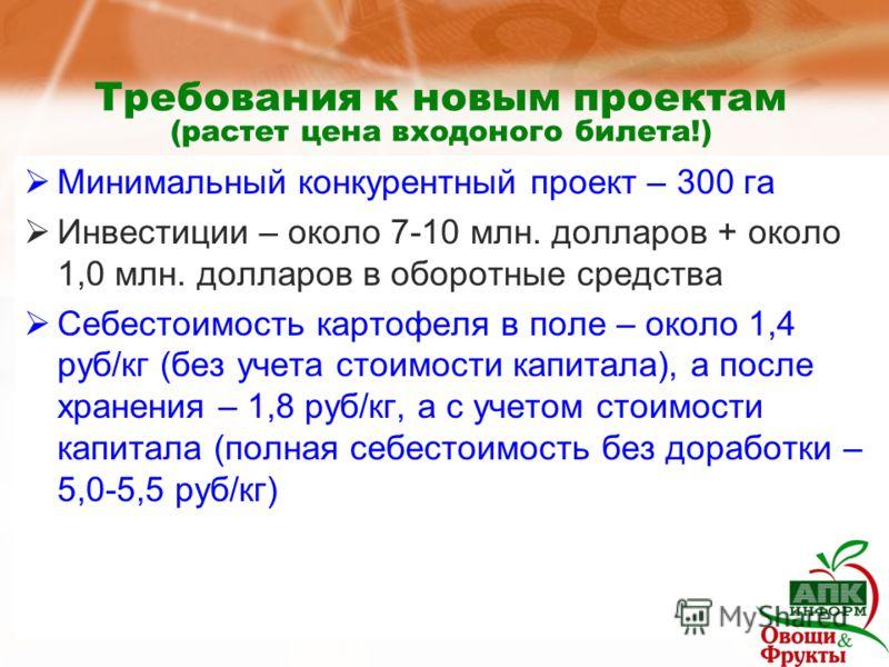 Требования к новым проектам (растет цена входоного билета!) Минимальный конкурентный проект – 300 га Инвестиции – около 7-10 млн. долларов + около 1,0 млн. долларов в оборотные средства Себестоимость картофеля в поле – около 1,4 руб/кг (без учета сто