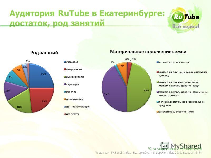 Аудитория RuTube в Екатеринбурге: достаток, род занятий % от уникальных пользователей По данным TNS Web Index, Екатеринбург, январь-октябрь 2010, возраст 12-54