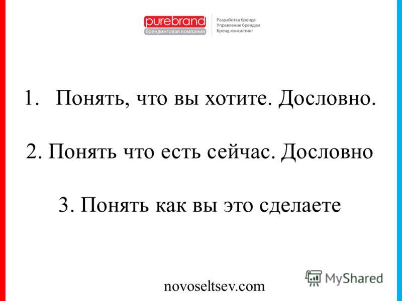 novoseltsev.com 1.Понять, что вы хотите. Дословно. 2. Понять что есть сейчас. Дословно 3. Понять как вы это сделаете