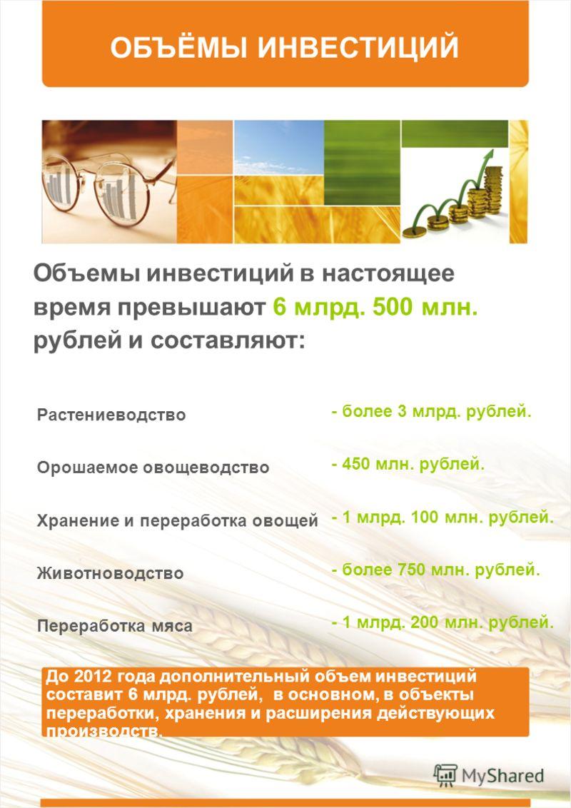 ОБЪЁМЫ ИНВЕСТИЦИЙ Объемы инвестиций в настоящее время превышают 6 млрд. 500 млн. рублей и составляют: Растениеводство Орошаемое овощеводство Хранение и переработка овощей Животноводство Переработка мяса - более 3 млрд. рублей. - 450 млн. рублей. - 1