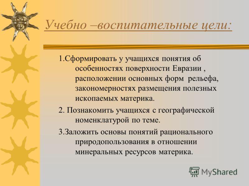 Урок –репортаж по теме: « Основные формы рельефа. Размещение полезных ископаемых Евразии.»