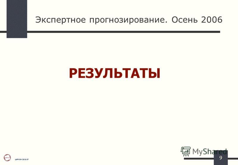 ЦИРКОН 25.01.07 9 Экспертное прогнозирование. Осень 2006 РЕЗУЛЬТАТЫ