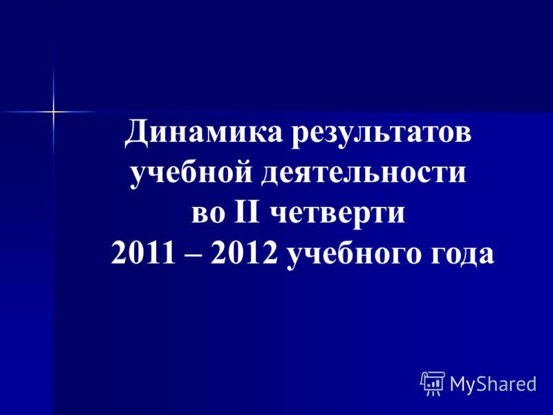 Динамика результатов учебной деятельности во II четверти 2011 – 2012 учебного года